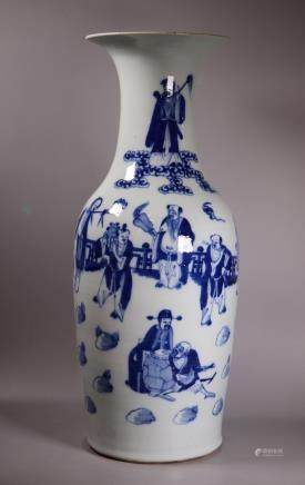 Large Chinese Blue & White Baxian Porcelain Vase