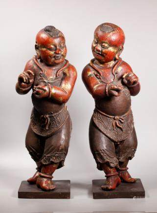 Pr Chinese Lacquered Wood Standing Temple Boys