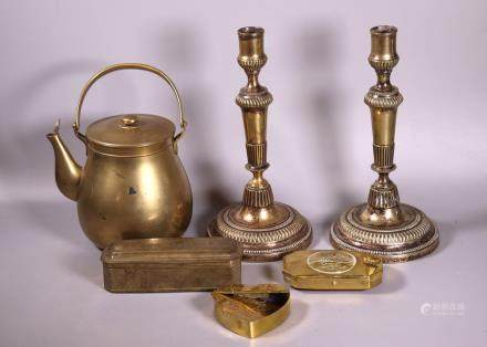 Swedish 18 C Candlesticks, 3 Tobacco Boxes, Teapot
