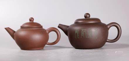 2 Chinese Dark Clay Yixing Standard Teapots