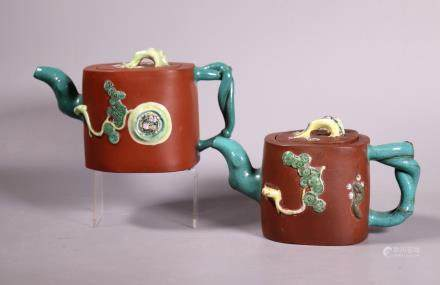2 Chinese Enameled Yixing Winter Friends Teapots