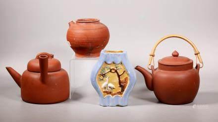 2 Chinese Yixing Teapots, Enameled Vase, Pitcher