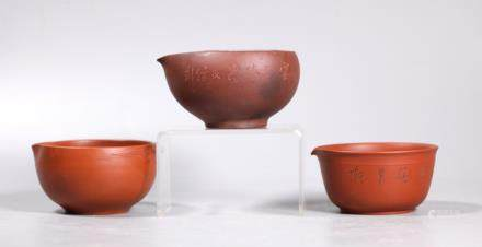 "- 3 Chinese Yixing ""Fairness"" Teapot Bowls"