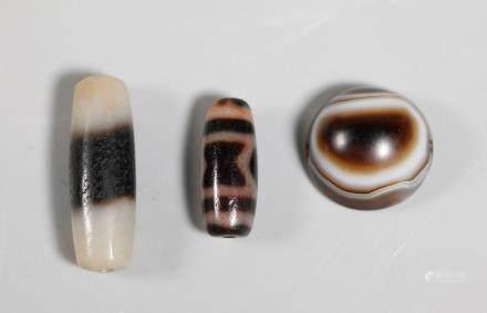 3 Tibetan Agate Beads, Dzi Bead 1/2 Round Striped