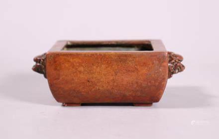 Chinese Rectangular Cast Bronze Incense Burner