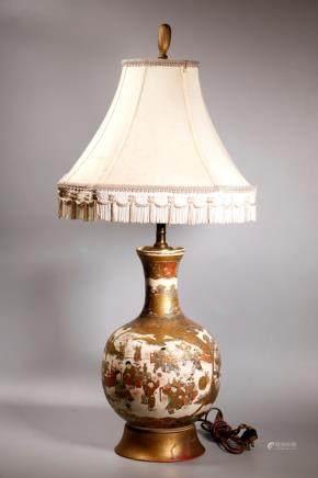 Japanese Satsuma Boys & Scholars Ceramic Vase