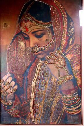 "Original India Bride ""Jeweled"" Collage; Framed"