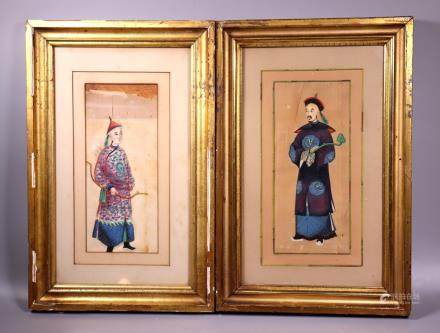 2 Chinese Mid 19 C Pith Paintings Imperial Princes