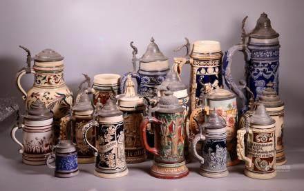 16 Vintage German Beer Steins
