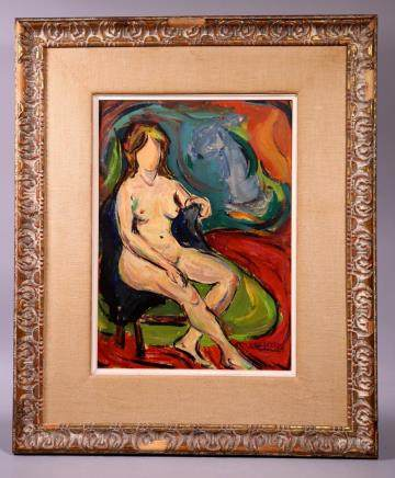 Maxim Bugzester; Oil on Panel Expressionist Nude