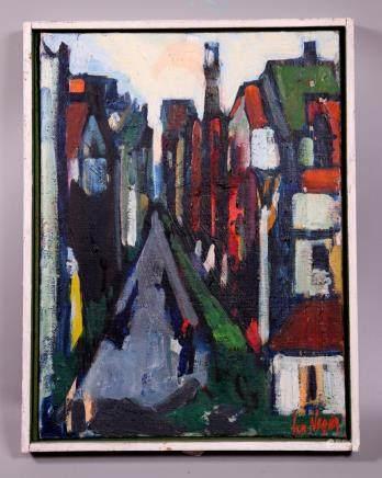 Oil Canvas Board; Expressionist Cityscape, Signed