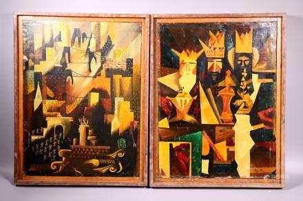 2 Cubist Paintings W Huebbe Chessmen, Skyscrapers