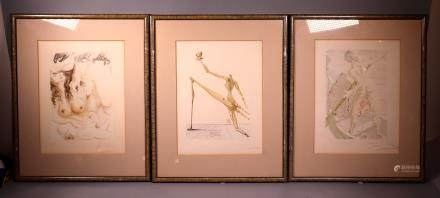 Salvador Dali 3 Woodblocks Dante Divine Comedy