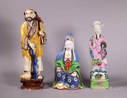 Chinese 19 C Figures; 2 Porcelain 1 Stoneware