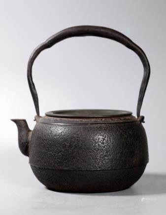 Japanese 19 C Iron Tetsubin Teapot w Bronze Cover