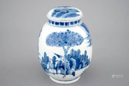 A Japanese blue and white jar and cover, late 17th C.