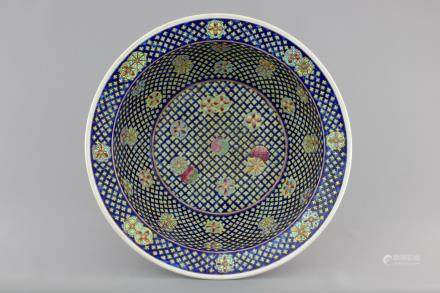 A large Chinese porcelain famille rose Peranakan Straits bowl, 19th C.