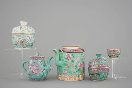 A nice set of Chinese turquoise ground famille rose Peranakan straits porcelain including teapots, 19/20th C.