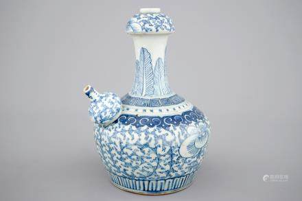 A rare Chinese blue and white kendi for the Indonesian market, 19th C.