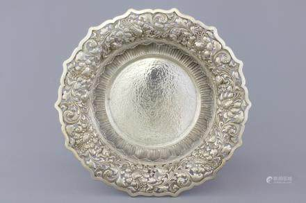 An Indonesian yogya silver open-worked serving dish, 19th C.