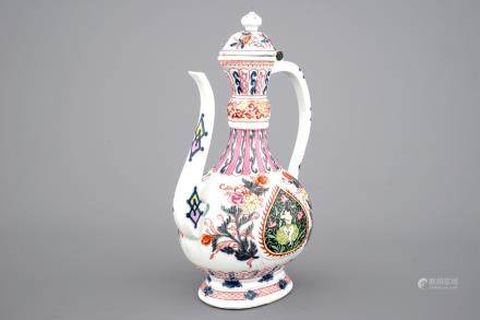 A tall famille rose ewer with cover for the Indian market, 19th C.