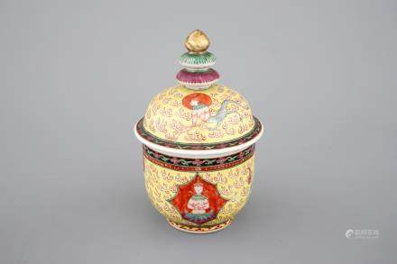 A Chinese Thai market Bencharong style yellow ground bowl and cover, 18/19th C.