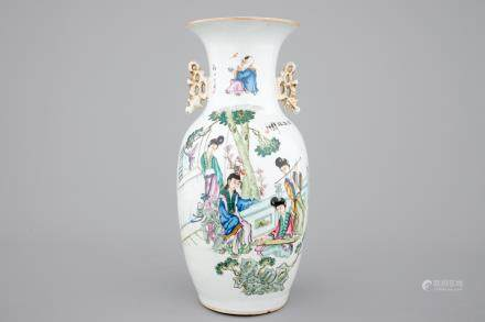 A two-sided Chinese porcelain vase with a garden scene of beauties, ca 1900
