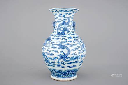 A Chinese blue and white dragon vase with elephant handles, 19th/20th C