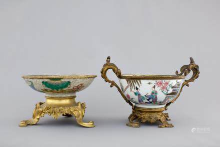 Two Chinese porcelain bowls with gilt bronze mounts, Yongzheng and 19th C.