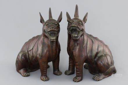 "A tall pair of Chinese bronze ""Luduan"" figures, 18/19th C."