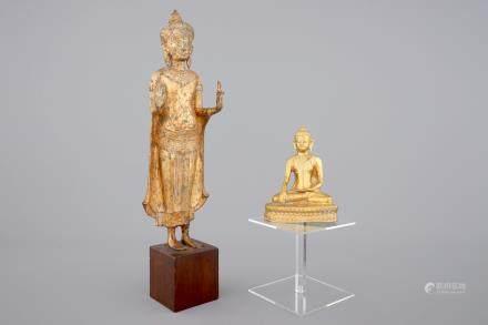 Two Asian gilt Buddha's, one Sino-Tibetan, seated, one standing, Nepalese (?), 19/20th C.