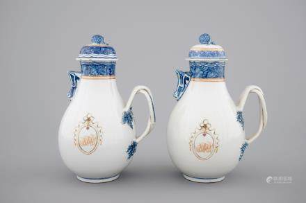 A pair of Chinese export porcelain jugs with cover, Qianlong, 18th C.