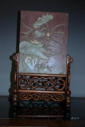 A Fine Chinese  Carved Stone Table Screen of Lotus and