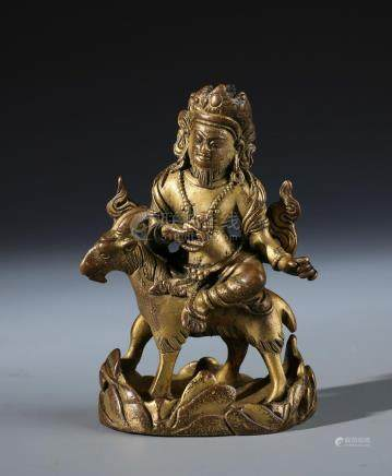 A Rare Chinese Carved Gilt Bronze Figure of Guardian