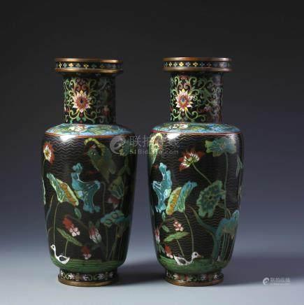 Pr Chinese Gilt Bronze and Cloisonne Enamel Rouleau