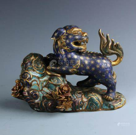 A Chinese Carved  Cloisonne Enamel and Gilt Bronze