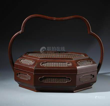 A Rare Chinese Brown Lacquered Basket