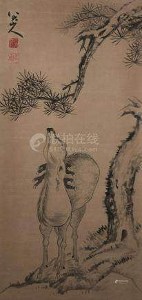 A Fine Chinese  Hand-drawn Painting of Deer Undeneath