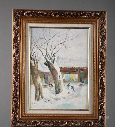 A Framed Western Painting of Winter Snow Signed By Wu