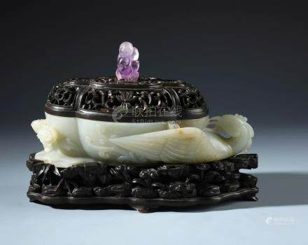 A Finely Carved Chinese White Jade Phoenix Brush Washer