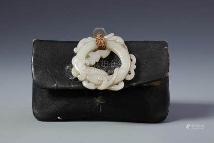 A Rare Chinese Carved White Jade Dragon Pendent with