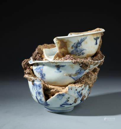 Three Chinese Blue and White Porcelain Bowls