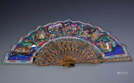 A Chinese Gilt Silver  Filigree  Dragon Fan