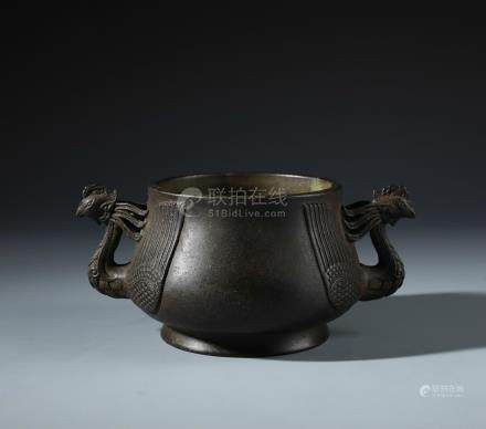 A Rare Chinese Carved Bronze Censer with Twin Phoenix