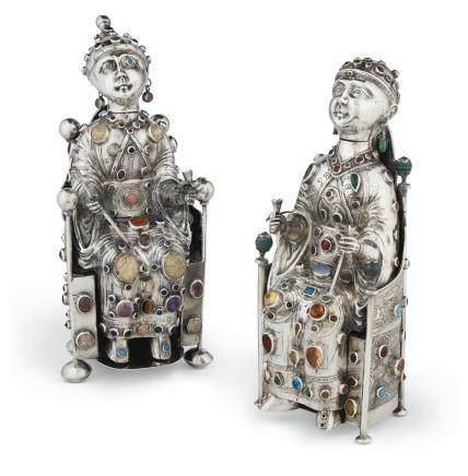 TWO SIMILAR GERMAN GEM-SET FIGURAL DECANTERS