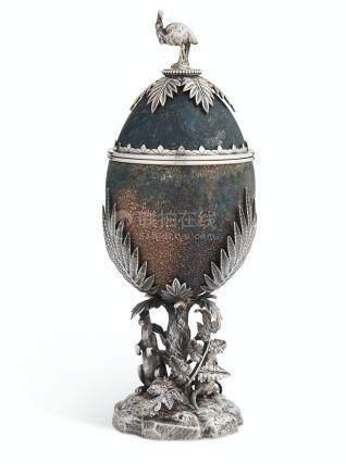 AN AUSTRALIAN SILVER-MOUNTED OSTRICH EGG