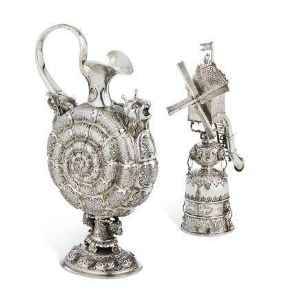 AN AUSTRIAN SILVER EWER AND A DUTCH SILVER WINDMILL CUP