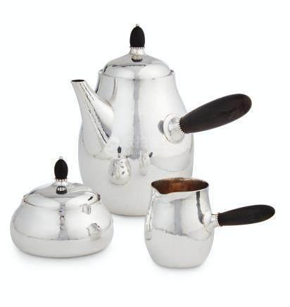 A DANISH SILVER THREE-PIECE COFFEE SET, NO. 80C, 80D