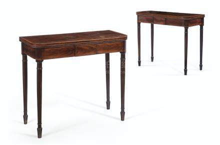 A PAIR OF GEORGE III INLAID MAHOGANY CARD TABLES