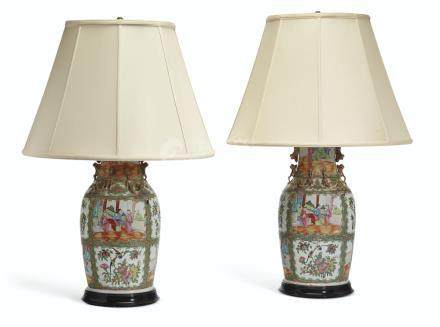 A PAIR OF CHINESE EXPORT 'CANTON FAMILLE ROSE' VASES, MOUNTED AS LAMPS